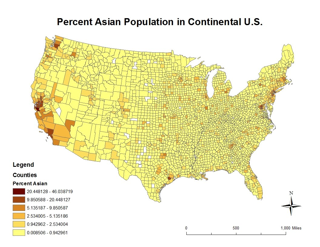 this map displays the percent asian population in the continental united states according to 2000 census data most counties have a small percentage of