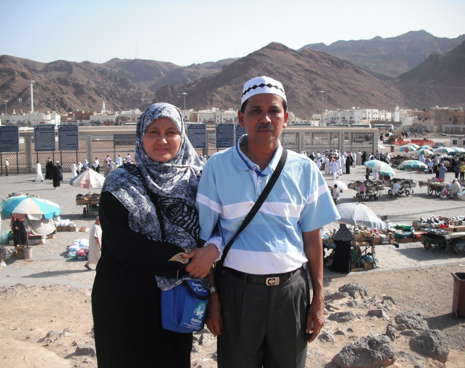 bersama suami di Bukit Uhud