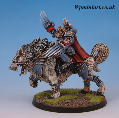 Canis wolfborn has been painted entirely with vallejo colour paints
