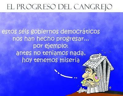 Caricatura de hombre pobre criticando al gobierno