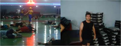 Clase de aeróbicos, ejercicios físicos