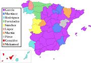 . el apellido más frecuente en cada una de las provincias de España. (px spanish surnames by province of residence)