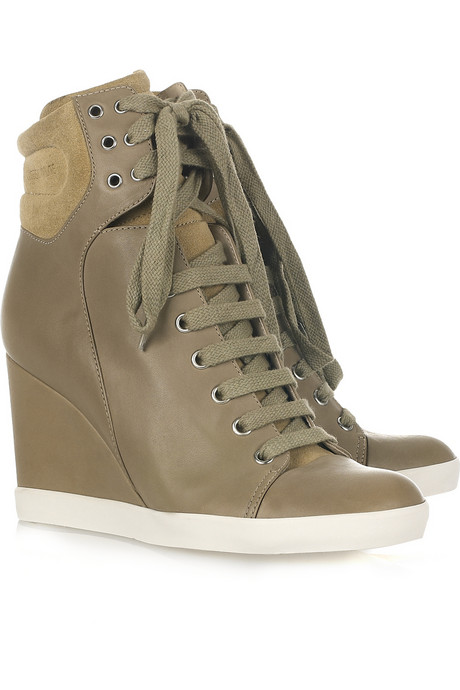 ... Chloe Lace-up leather and suede wedge ankle boots (priced at 5).