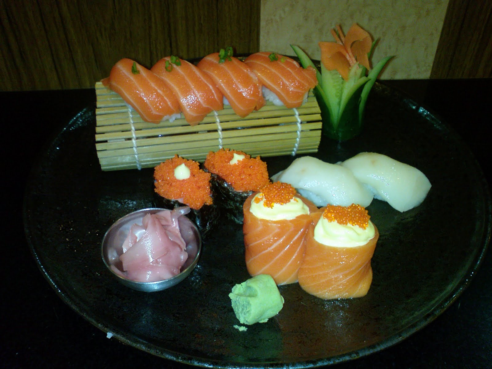 My platform for Fish eggs on sushi