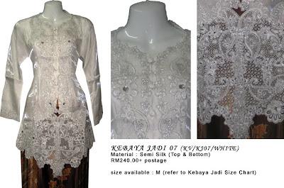 Size M: RM240 + P&P - KJ07 Kebaya Jadi White