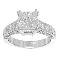 Diamond Engagement Ring in Platinum Pave Mounting Size 3.5