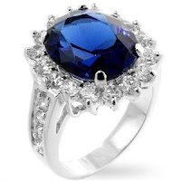 Princess Diana Inspired - Sterling Silver Deep Blue Sapphire CZ Ring