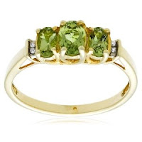 3-Stone Peridot Ring Diamond