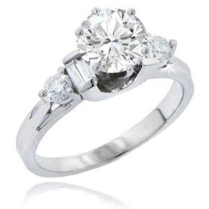 Diamond Engagement Ring in 14 kt. Accented Mounting Size 3.5