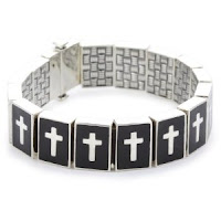 Silver Reversible Bracelet with Black Enamel Cross or Basket Weave Pattern