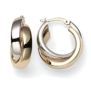 Yellow and White Gold Crossover Hoop Earrings