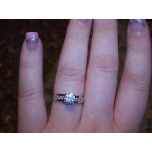 14k White Gold Solitaire Round ring
