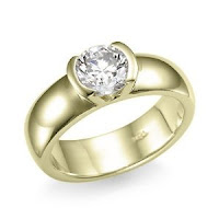 GIA Certified Round Half Bezel Diamond Solitaire Ring