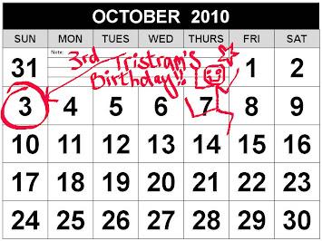 Tristram's Birthday: Sunday 3rd October