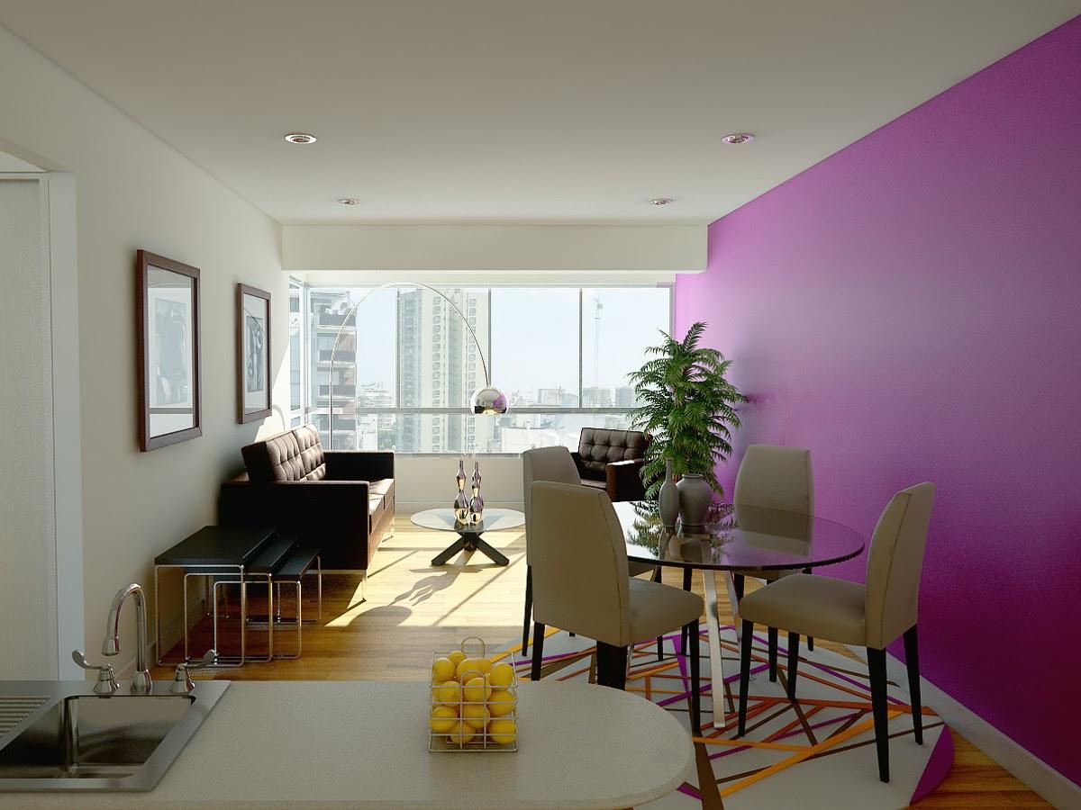 Proyecta 3d studio sala peque a bhms for Decoracion de sala comedor de departamento