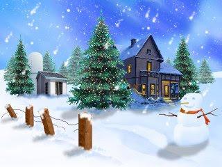 320x240 besplatne slike za mobitele: Snjegović i ukrašene Božićne