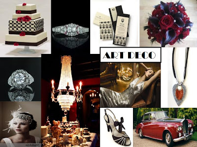 an inspiration board to display my take on an art deco theme wedding