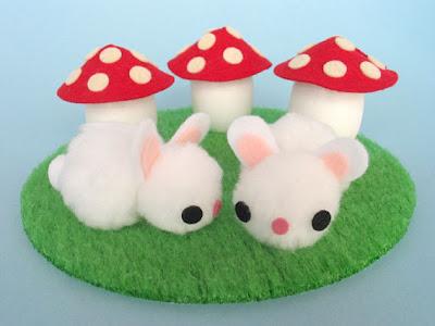 pom pom bunny and mushroom egg tutorial