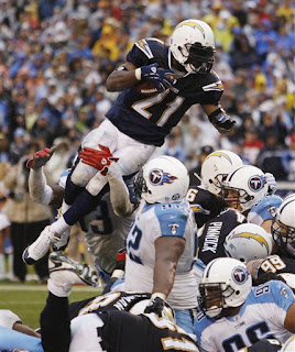 LT leaping over the pile to score a touchdown in the 4th quarter