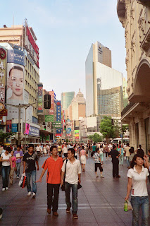 The very commercial Nanjing Road in Shanghai
