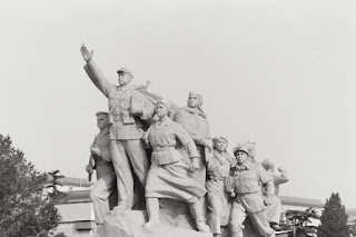 Statue outside of Mao's Mausoleum on Tiananmen Square