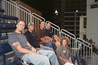 Noah, Joe, Dave, Kurt, Suzie and Louise on the bleachers atop the Western Metal Supply Co. Building