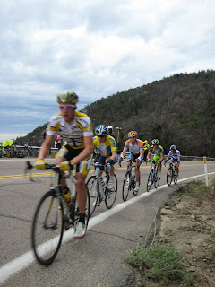 The Yellow Jersey Chase Group with Michael Rogers, Levi Leipheimer & David Zabriskie, the top three in the GC standings.