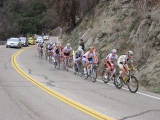 The Gruppetto with Mark Cavendish in the Green Sprinter's Jersey near the rear of the pack.