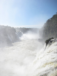 Looking down the Iguassu Falls from the spray covered walkway.