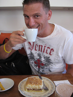 Chad satisfying his addiction in a Buenos Aires Coffeehouse.