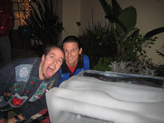 Noah and Chad preparing for some Ice Luge.