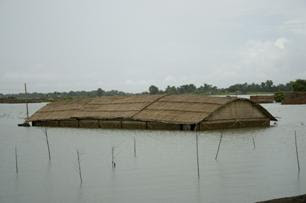 House almost totally submerged in the floods in Faridpur District. Photo: Amin Drik/Concern Aug 07.