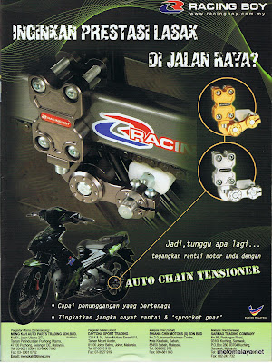 Auto Racing  October on Motomalaya  Racing Boy Auto Chain Tensioner Ads