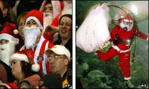 football fan dressed as Santa (l) and a diver in Seaworld, Jakarta (r)