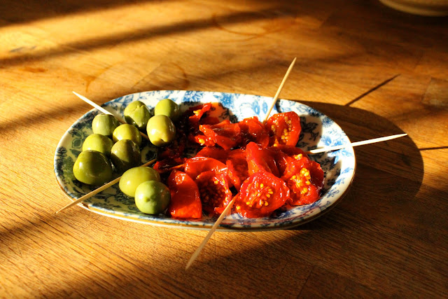 Oak smoked tomatoes and crisp green olives