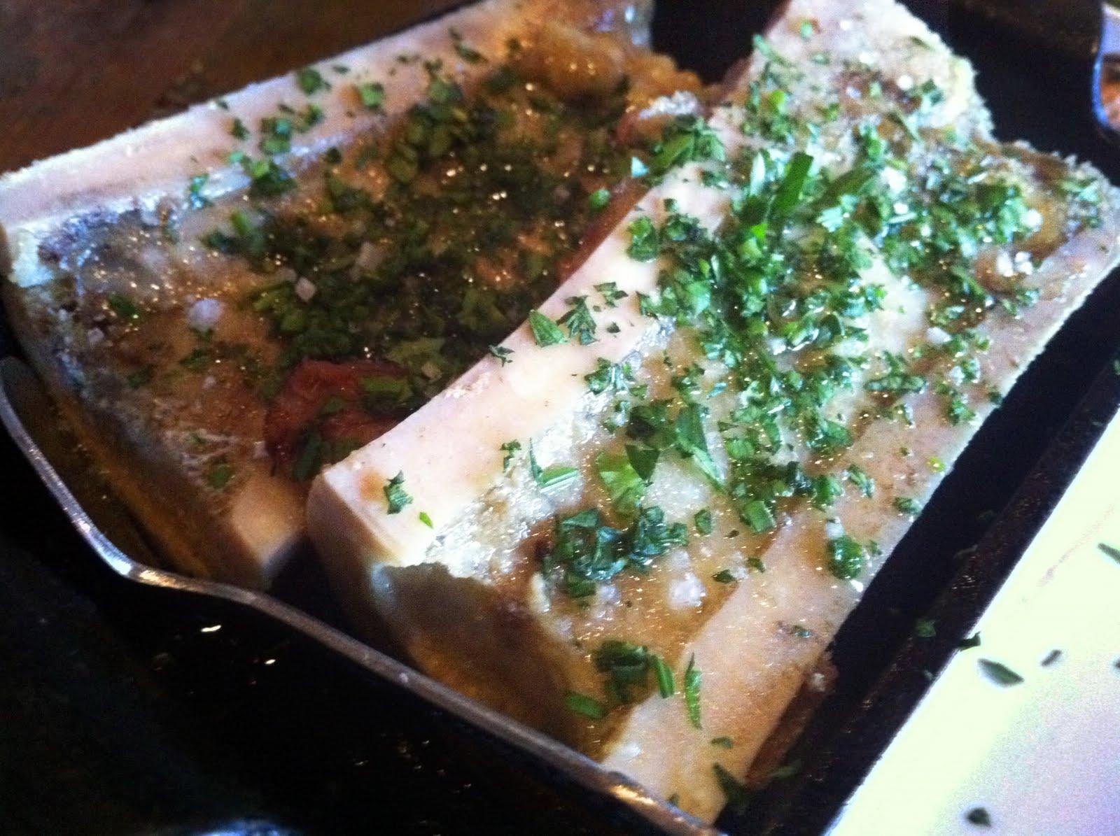 Roasted bone marrow with salsa verde & herbs (from Marlowe ):