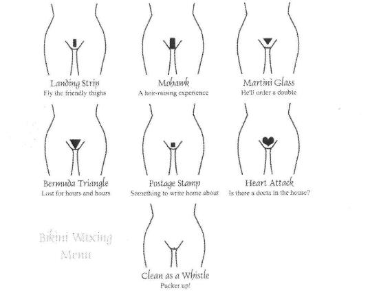 Anterior views of female pubic hair development, Top left . Bikini Thong.