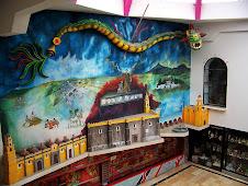 Mural inside Cholula hotel