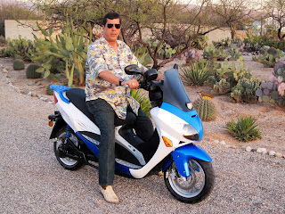 Dave Dewbre on electric motorcycle in Tucson, AZ