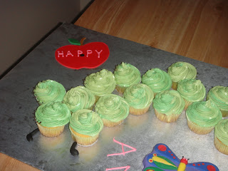Very Hungry Caterpillar First Birthday Cake-left side with apple