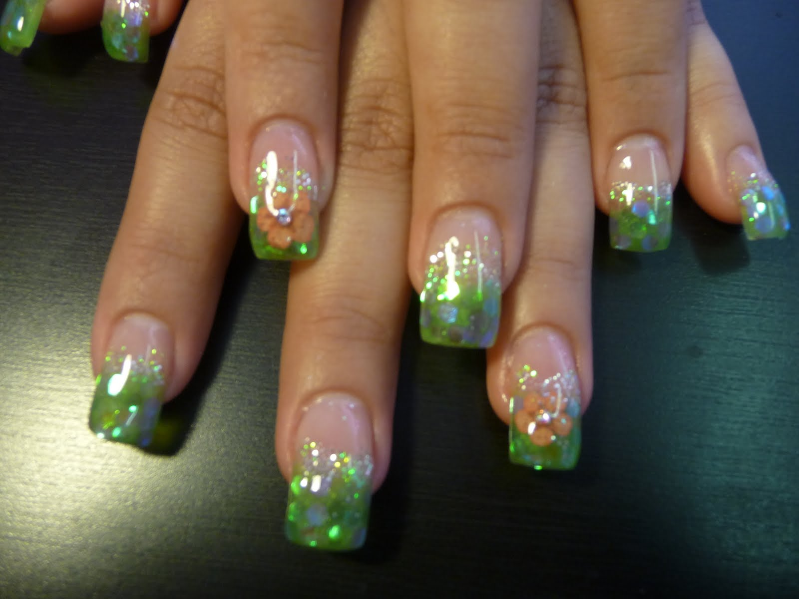 Natural Nails & gels By Alex: Green Tip Gel nails