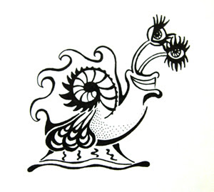 Ink Blot illustration of a snail named Speedy McBubbles in black ink on white paper.
