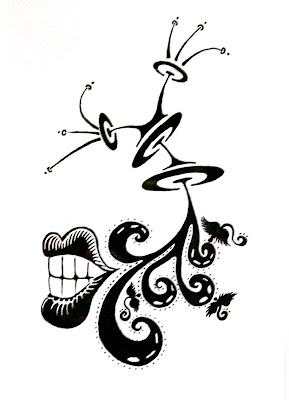 Flamengo Kisses a Black and White Ink Blot Drawing by GreenSpaceGoods