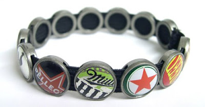Bottle Cap Recycled Bracelet by Lani Mathis and Michael Ayers of GreenSpaceGoods