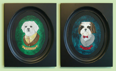 Nemo and Bailey Dog paintings by Lani Mathsi