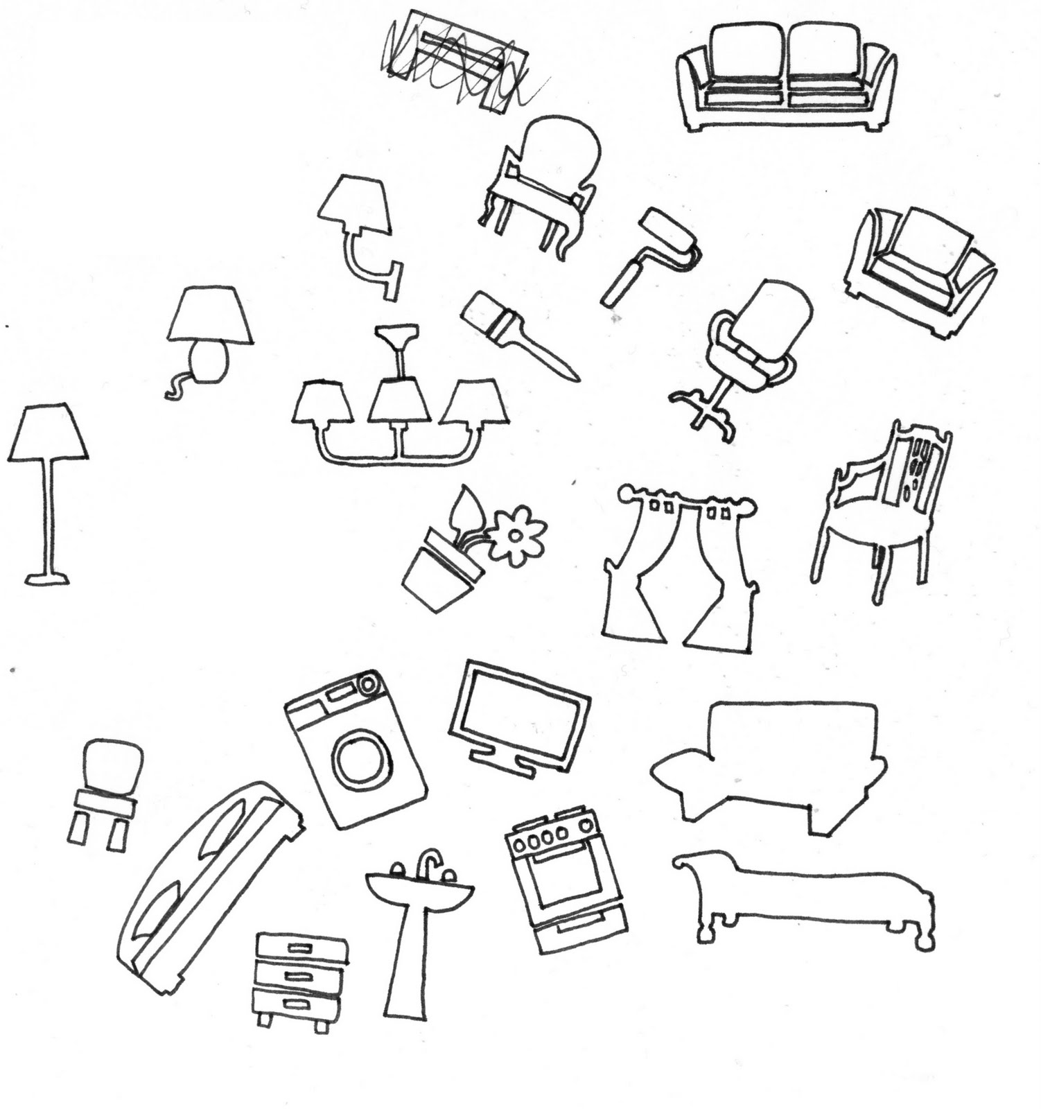 Furniture Line Drawings -  drawings of furniture and utensils in the house i wanted to use these to on to create a set of three posters and also a typeface using the ikea colours