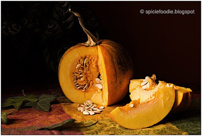 sliced pumpkin with seeds