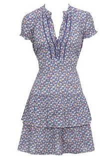 Blue Patterned Tea Dress