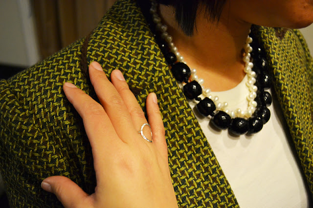 office fashion blogger the new professional angeline evans target blazer swapped clothing swap pearls etsy ring