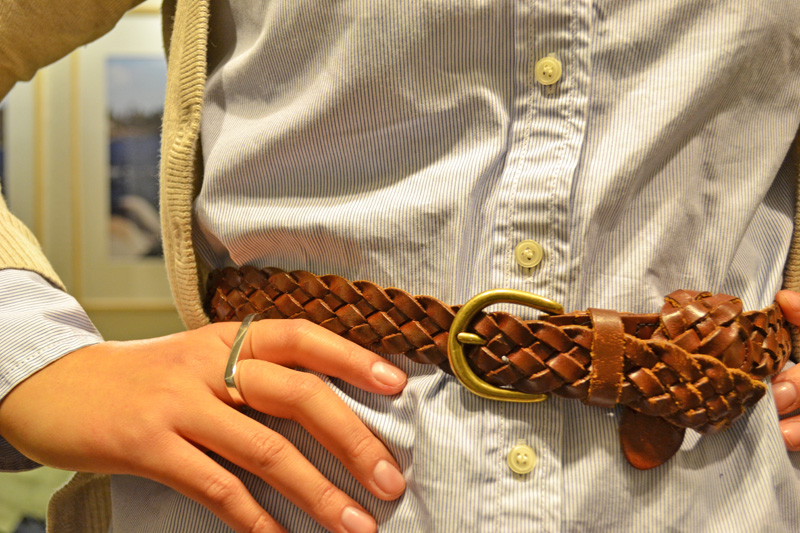 office fashion blogger jcrew oxford braided belt cardigan urban outfitters double finger two ring casual friday look